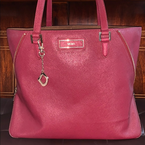 8fb0a08f874c DKNY Large Saffiano Red Leather Tote